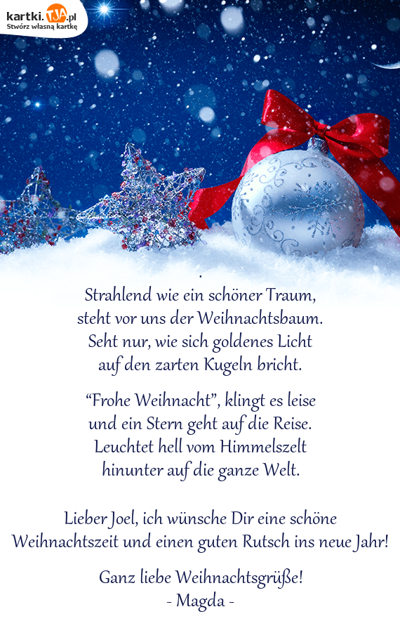 Wünsche Dir Frohe Weihnachten Und Einen Guten Rutsch.Frohe Weihnacht Klingt Es Leise Darmowe Kartki