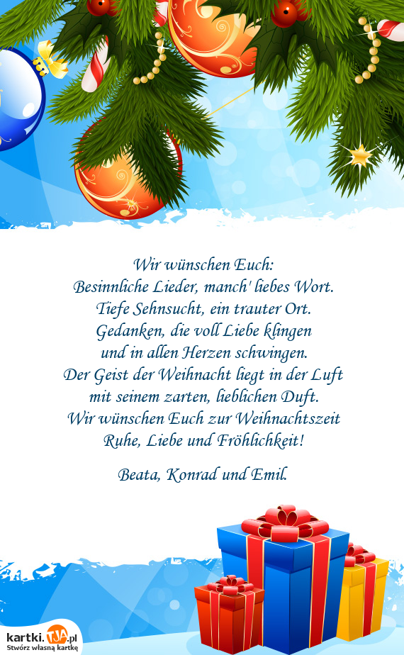 Wünsche Euch Besinnliche Weihnachten.Besinnliche Lieder Manch Liebes Wort Darmowe Kartki