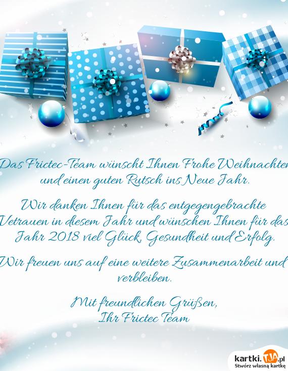 Das Frictec-Team wünscht Ihnen Frohe Weihnachten und einen guten ...