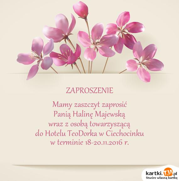 Wspaniały Do Hotelu TeoDorka w Ciechocinku - Darmowe kartki GX05