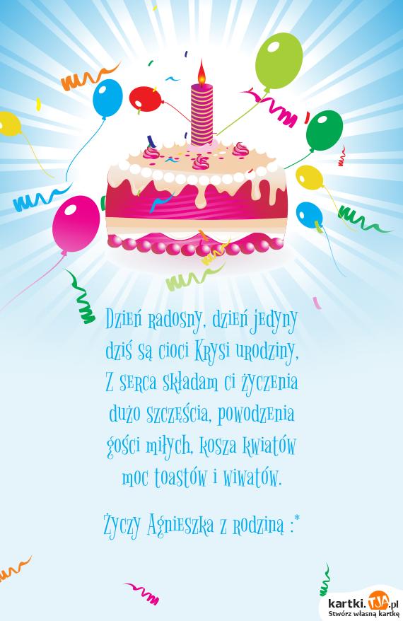Dzis Sa Cioci Krysi Urodziny Darmowe Kartki