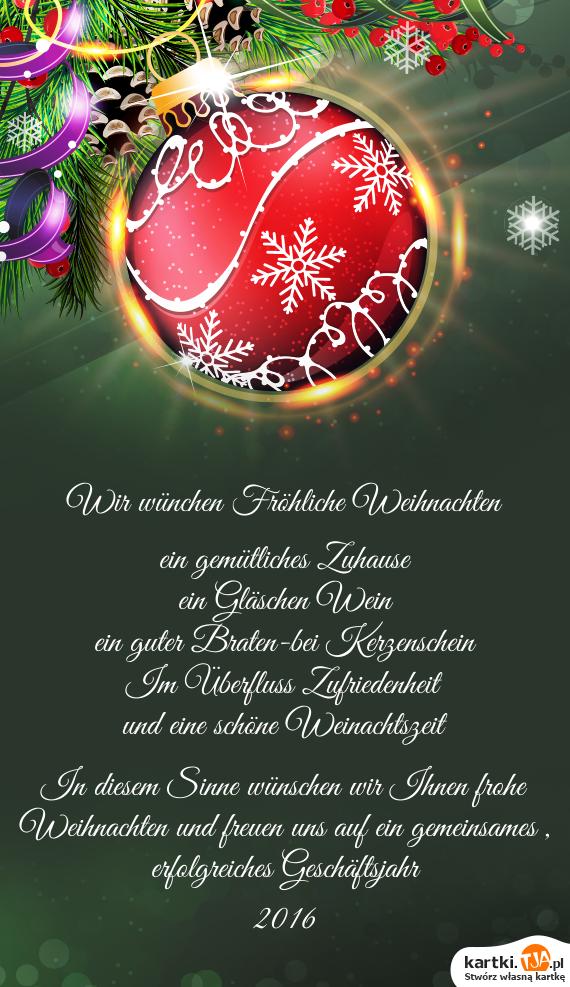 In Diesem Sinne Frohe Weihnachten.Ein Gläschen Wein Darmowe Kartki