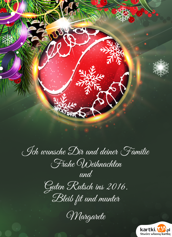 Frohe Weihnachten Wünsche Ich Dir Und Deiner Familie.Ich Wunsche Dir Und Deiner Familie Darmowe Kartki