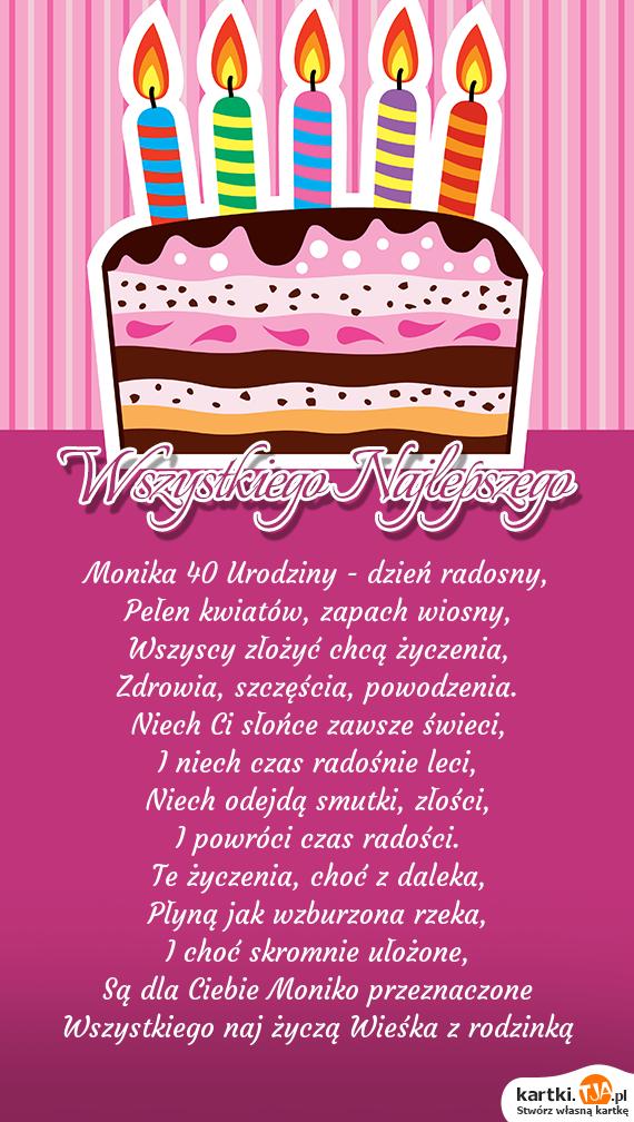Monika 40 Urodziny Dzień Radosny Darmowe Kartki