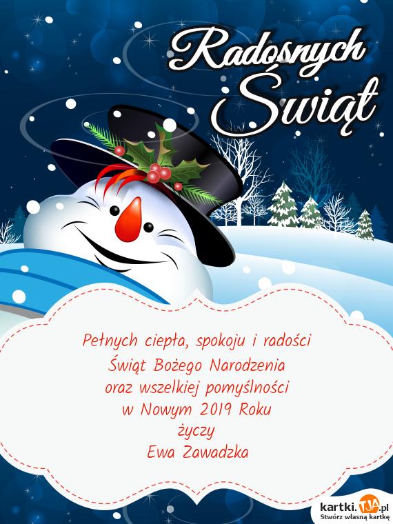 Spokoju I Radości świąt Bożego Narodzenia Oraz Wszelkiej Pomyślności