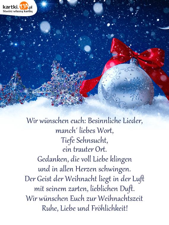 Wünsche Euch Besinnliche Weihnachten.Wir Wünschen Euch Besinnliche Lieder Darmowe Kartki