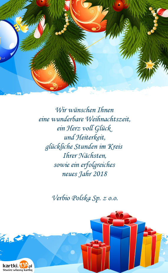 Wir wünschen Ihnen eine wunderbare Weihnachtszeit - Darmowe kartki