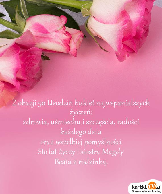Inteligentny Z okazji 50 Urodzin bukiet najwspanialszych życzeń - Darmowe kartki IA31