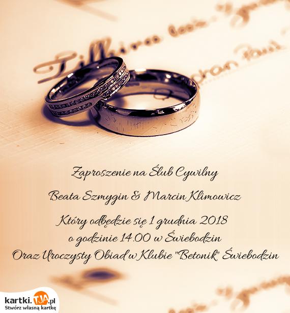 Zaproszenie Na ślub Cywilny Darmowe Kartki
